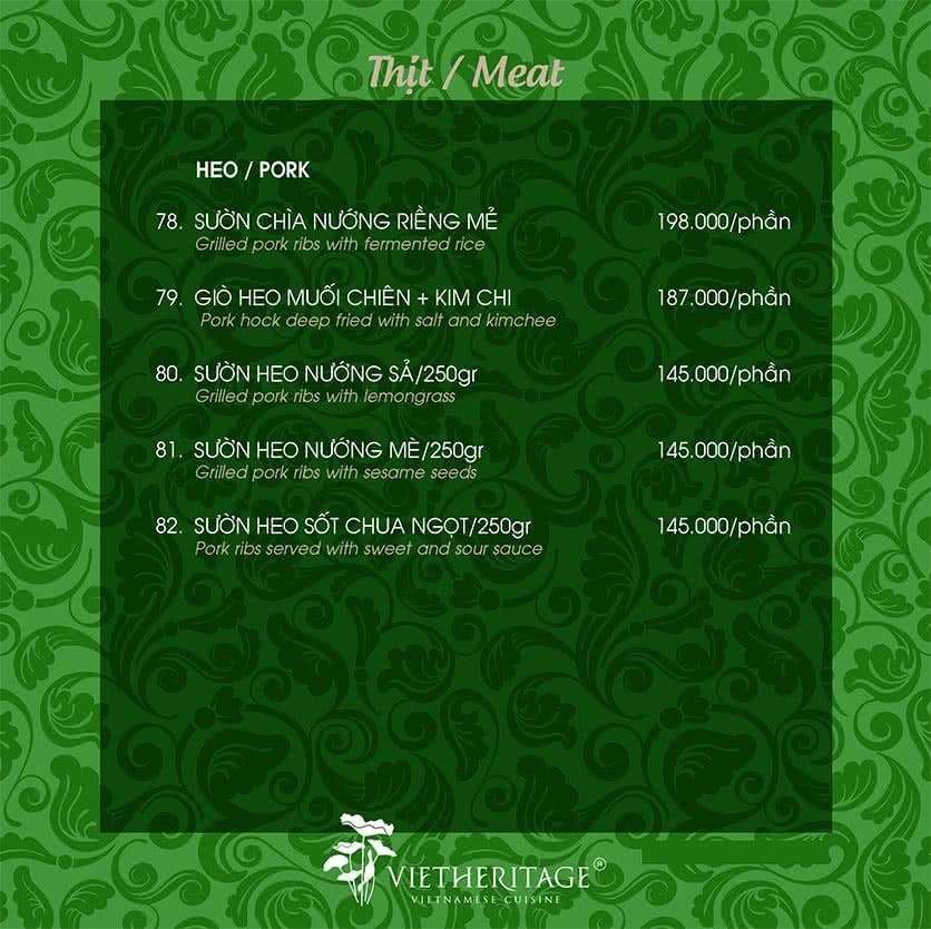 Menu Vietheritage - Võ Văn Tần 20