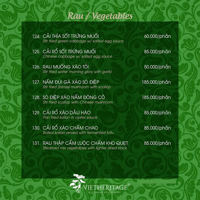 Menu Vietheritage - Võ Văn Tần 32