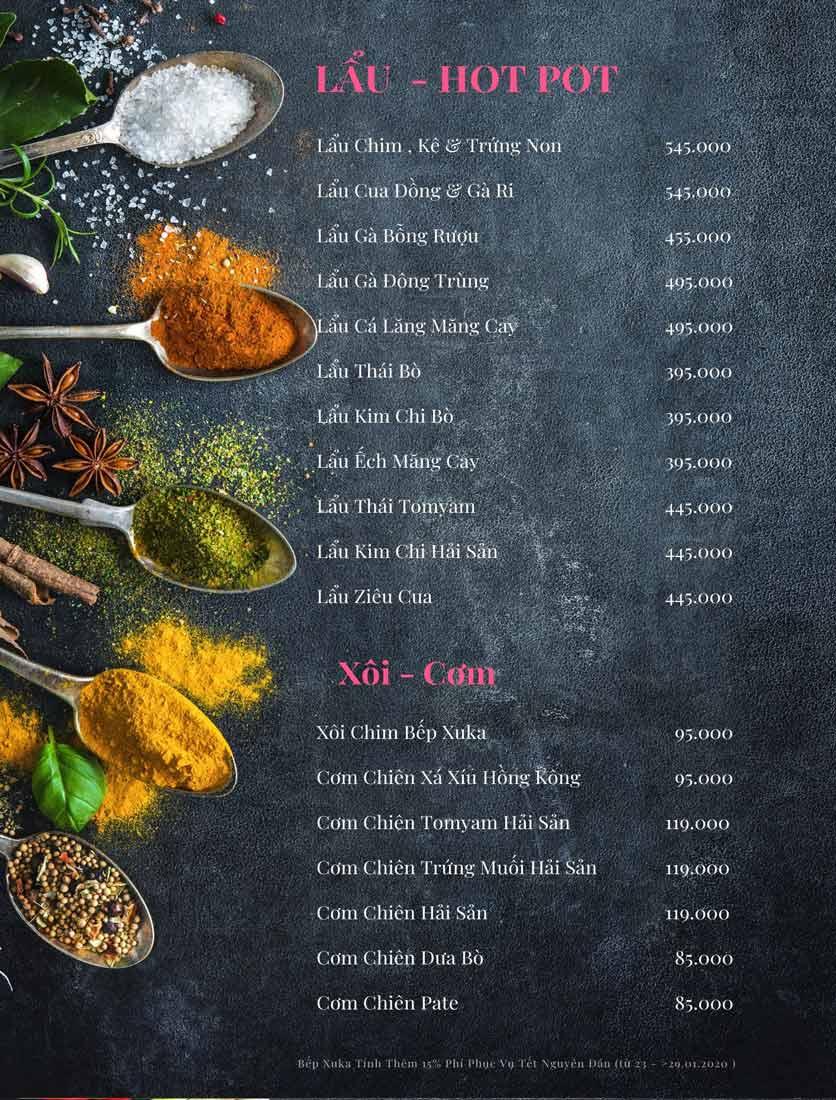 Menu Bếp Xuka - Nhà Chung 7