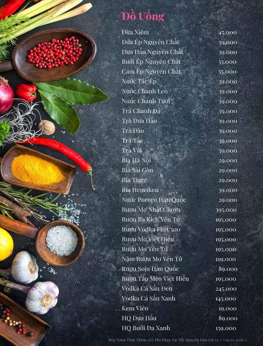 Menu Bếp Xuka - Nhà Chung 8