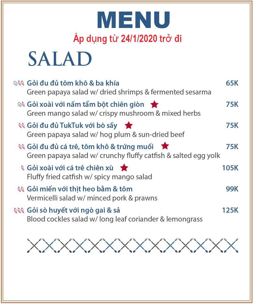 Menu TukTuk Thai Bistro - Lê Thánh Tôn 2