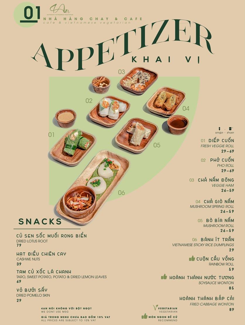 Menu 4An Café & Vietnamese Vegetarian - Nam Kỳ Khởi Nghĩa      1