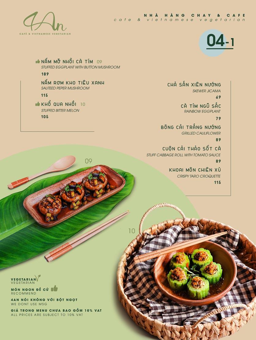 Menu 4An Café & Vietnamese Vegetarian - Nam Kỳ Khởi Nghĩa      5
