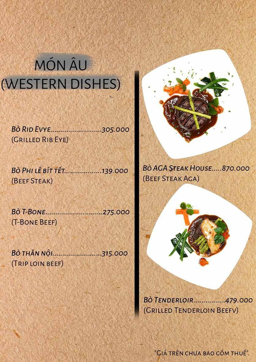 Menu AGA Steak House – Phan Đăng Lưu 5