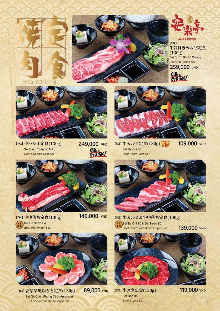 Menu Anrakutei Japanese BBQ - Mạc Đĩnh Chi 7