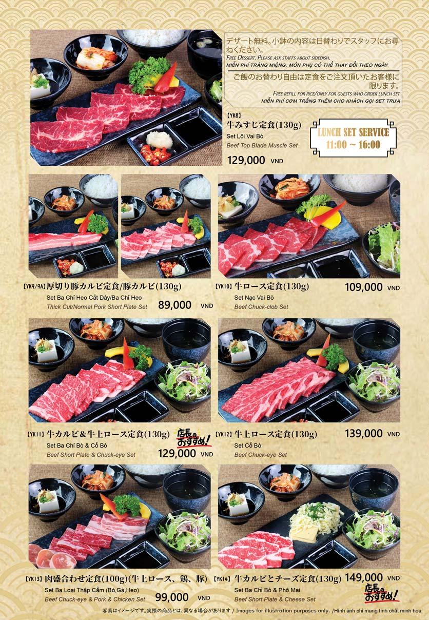 Menu Anrakutei Japanese BBQ - Mạc Đĩnh Chi 8