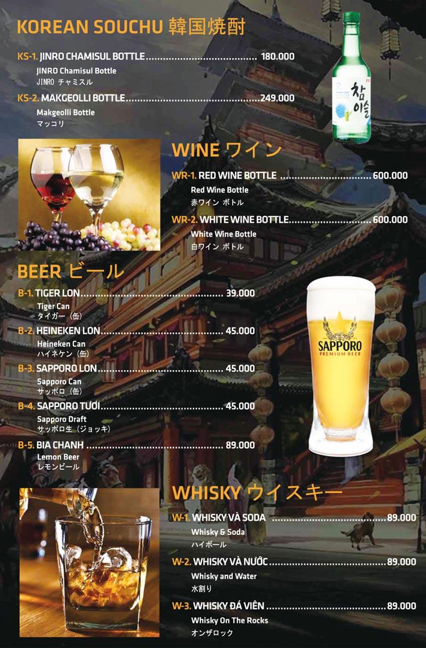 Menu Anrakutei Japanese BBQ - Mạc Đĩnh Chi 37