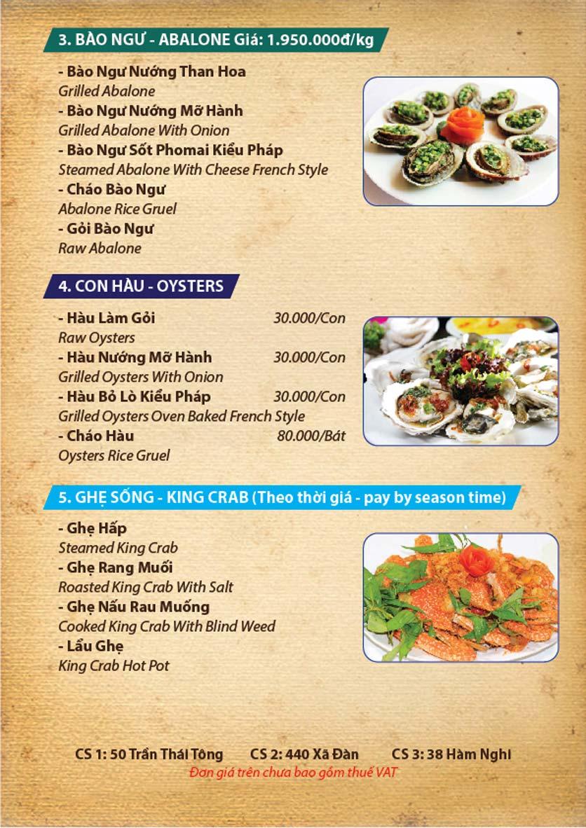 Menu Ba Ba Sơn Đông - Nguyễn Tuân 2