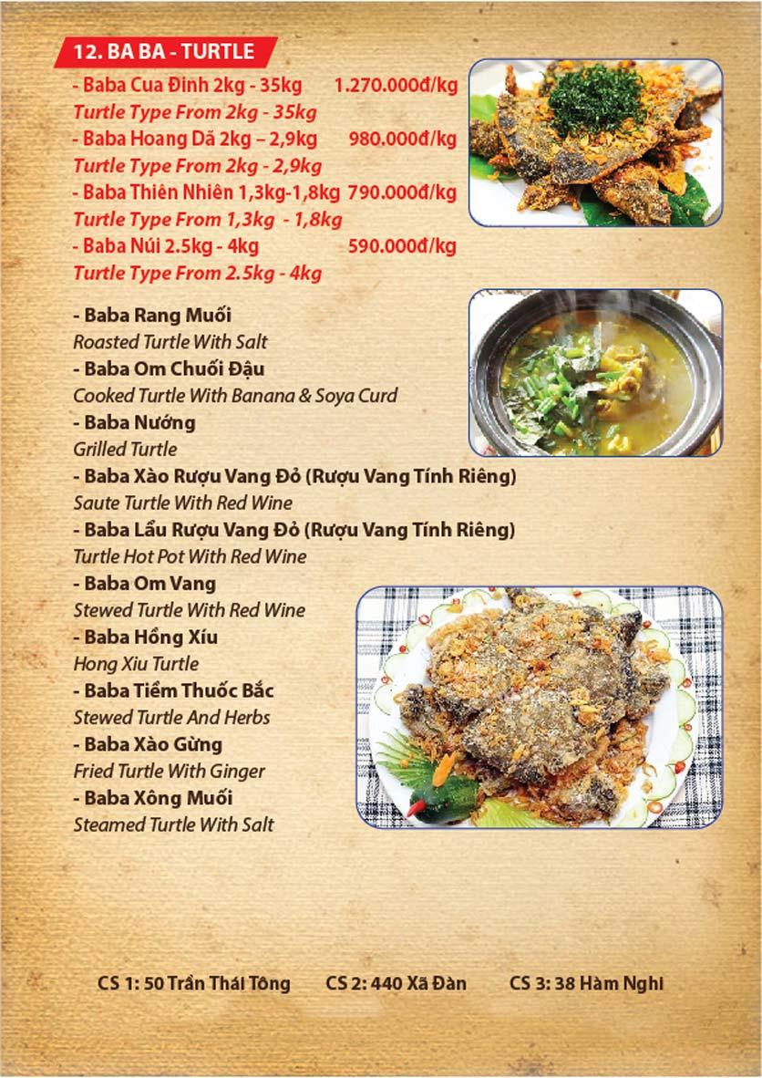 Menu Ba Ba Sơn Đông - Nguyễn Tuân 5