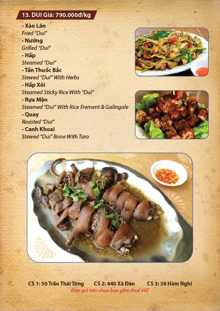 Menu Ba Ba Sơn Đông - Nguyễn Tuân 6