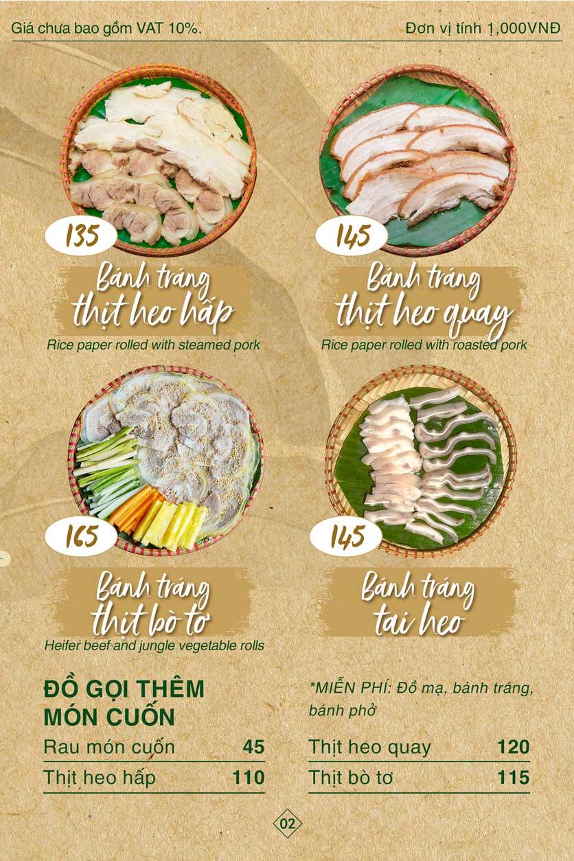Menu Bánh Tráng Thịt Heo Giang Mỹ - Hoàng Đạo Thúy 2