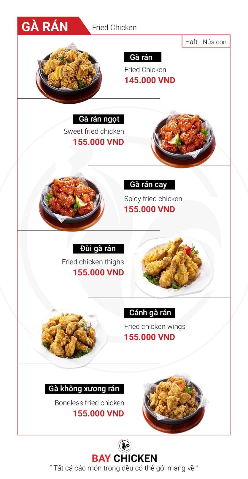 Menu Bay Chicken - Hàng Bún 1