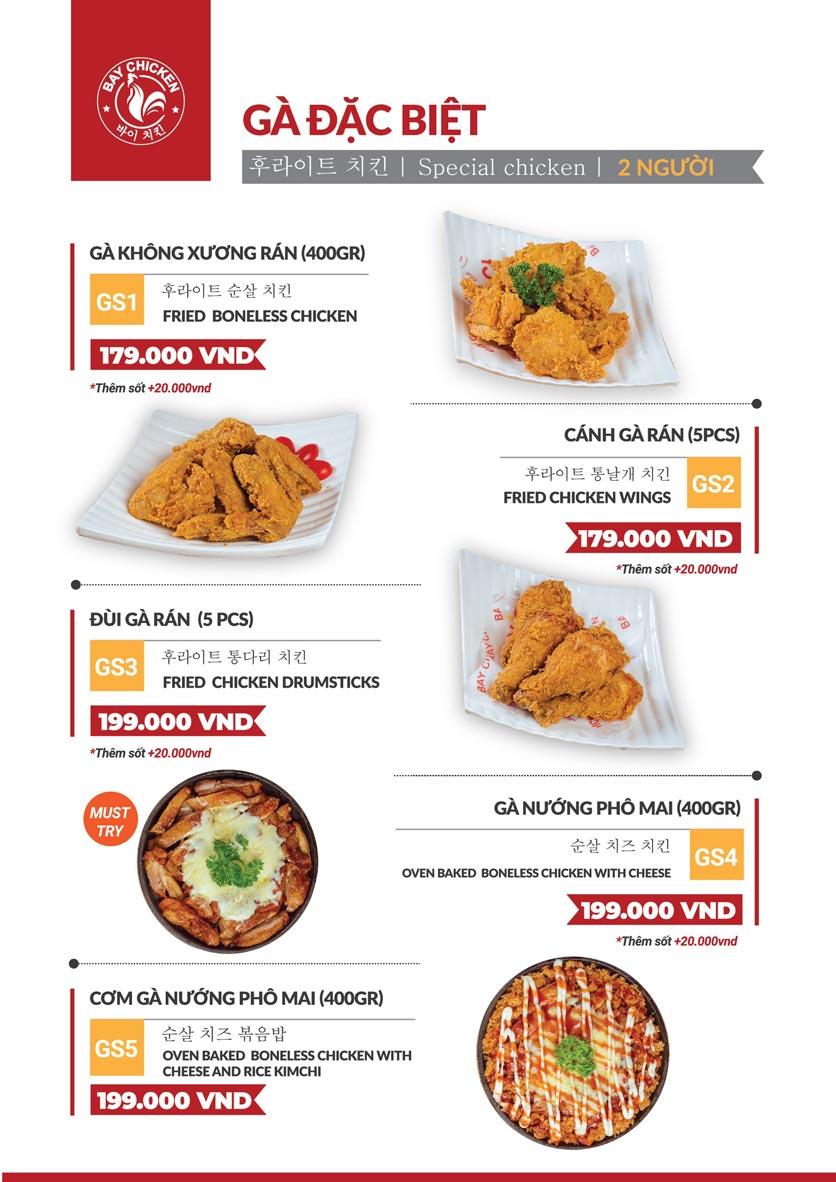 Menu Bay Chicken - Gà rán Hàn Quốc - Hàng Bún 2