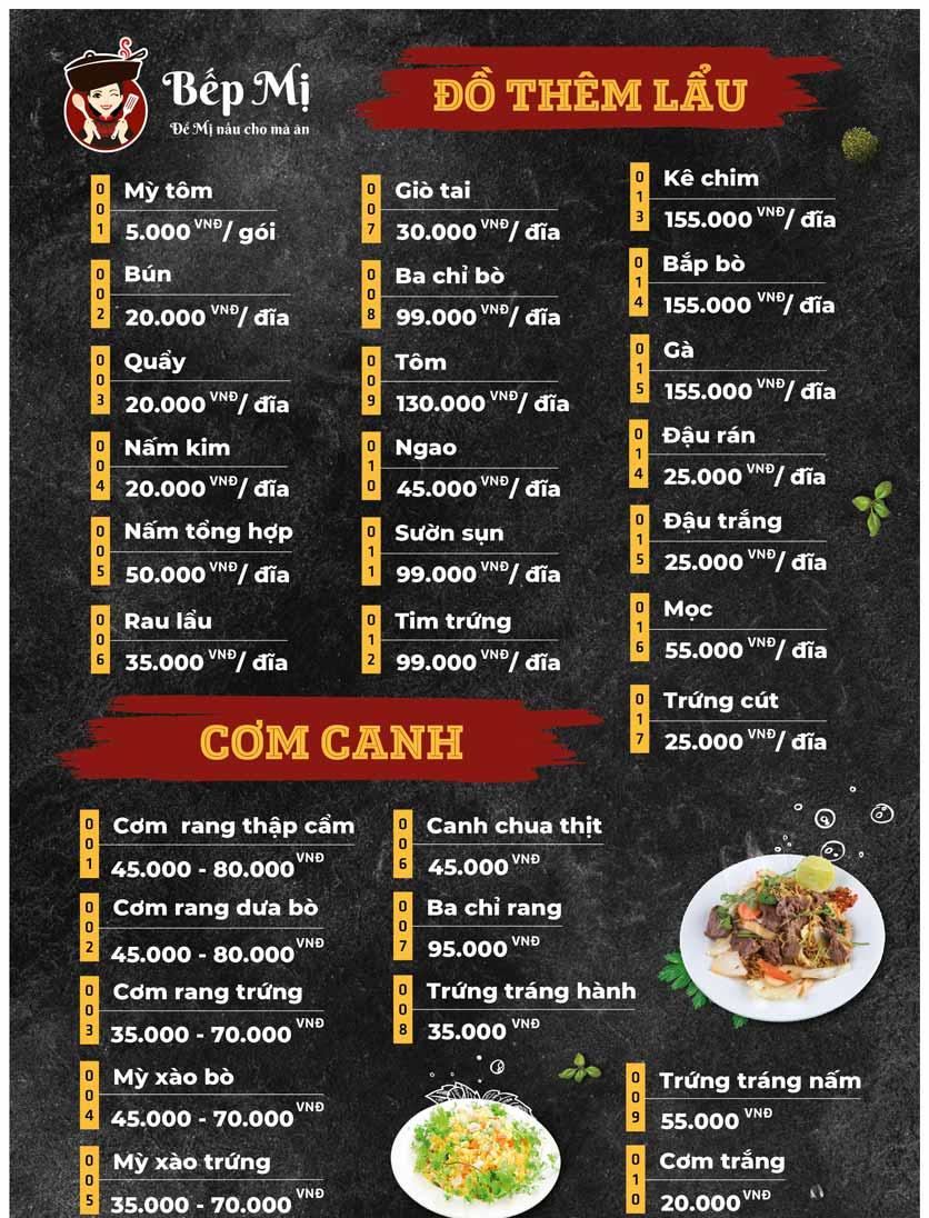 Menu Bếp Mị - Nguyễn Lương Bằng 14