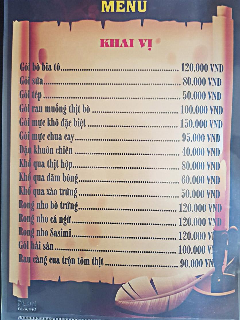 Menu Bia Tô Lão Đại 2 - Võ Văn Kiệt 16