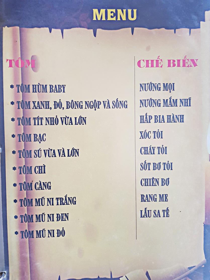 Menu Bia Tô Lão Đại 2 - Võ Văn Kiệt 2