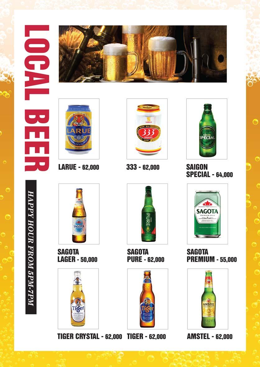 Menu Bier Garden  - Đồng Khởi 23
