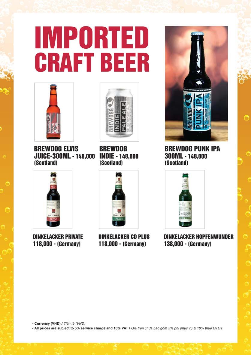 Menu Bier Garden  - Đồng Khởi 25