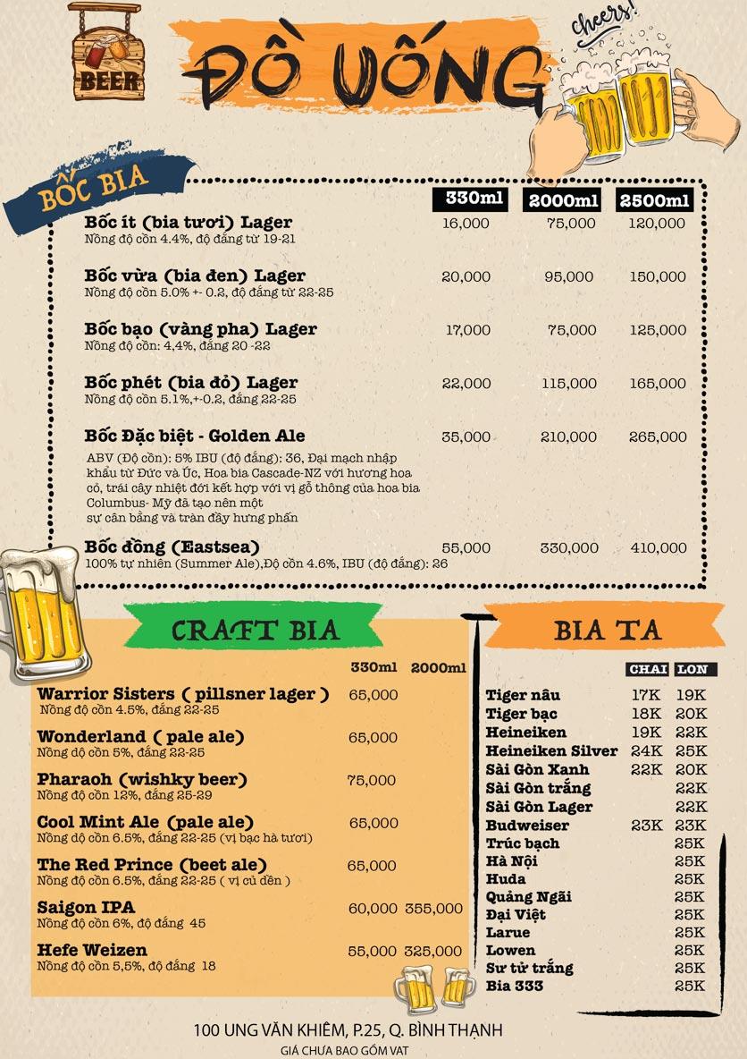 Menu Bốc Food & Beer Garden - Ung Văn Khiêm 6