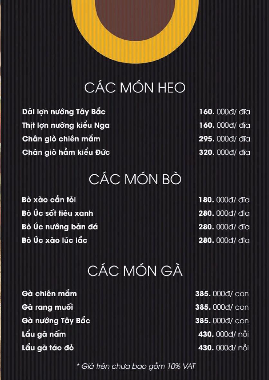 Menu Boong Restaurant – Nguyên Hồng 3