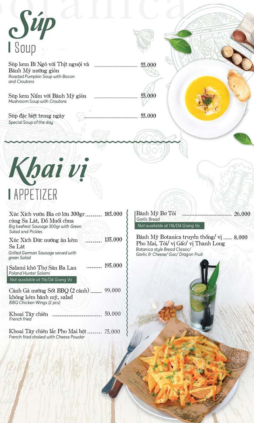 Menu Botanica - Thái Phiên 1