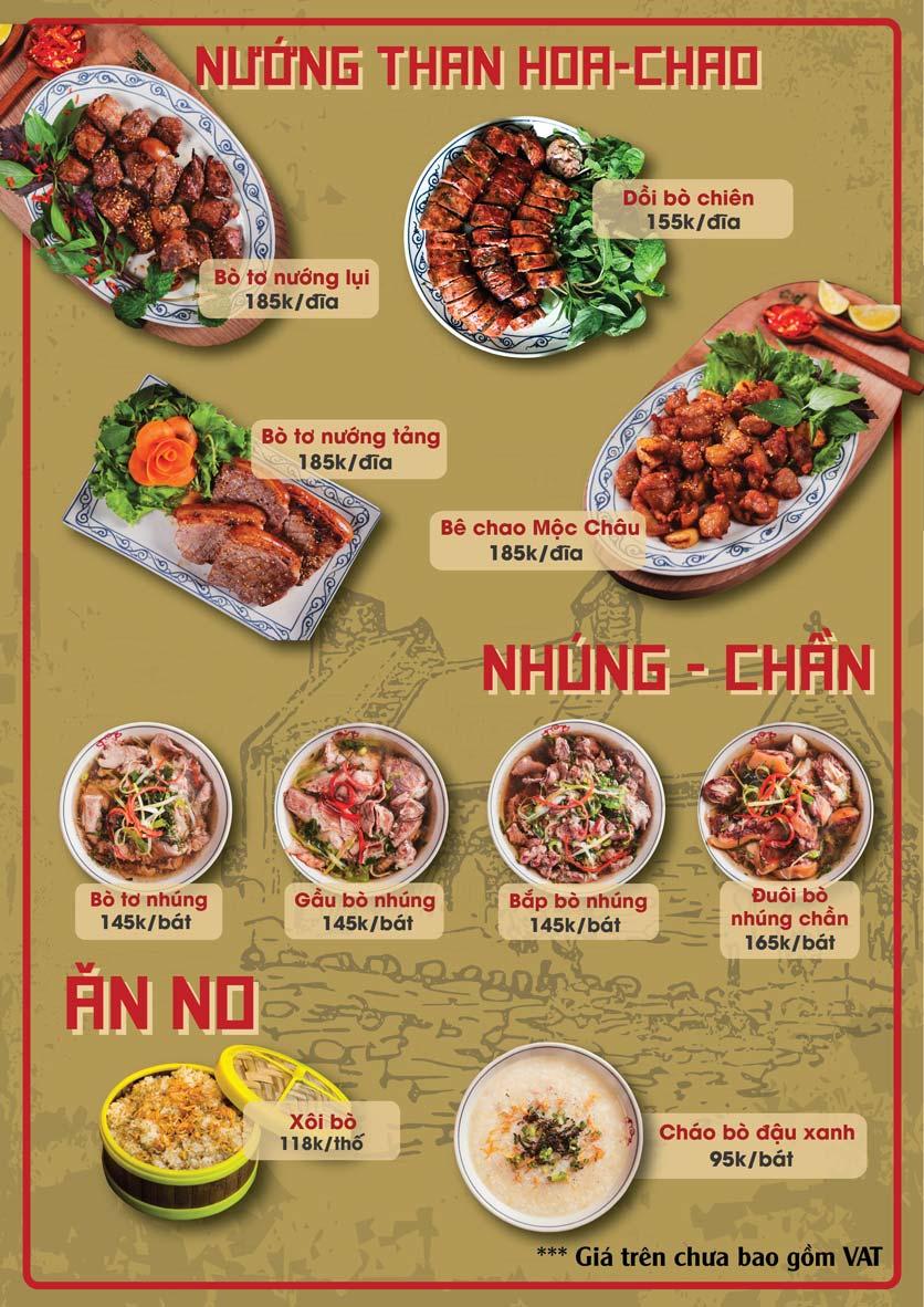 Menu Bò Tơ Quán Mộc - Thái Thịnh 3