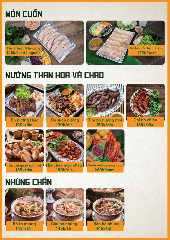 Menu Bò Tơ Quán Mộc - Nguyễn Thị Định 11