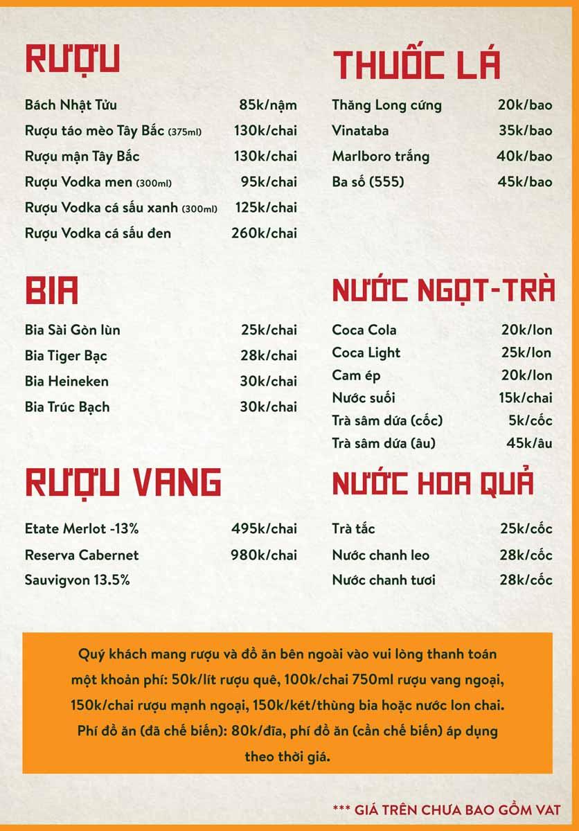 Menu Bò Tơ Quán Mộc - Nguyễn Thị Định 14
