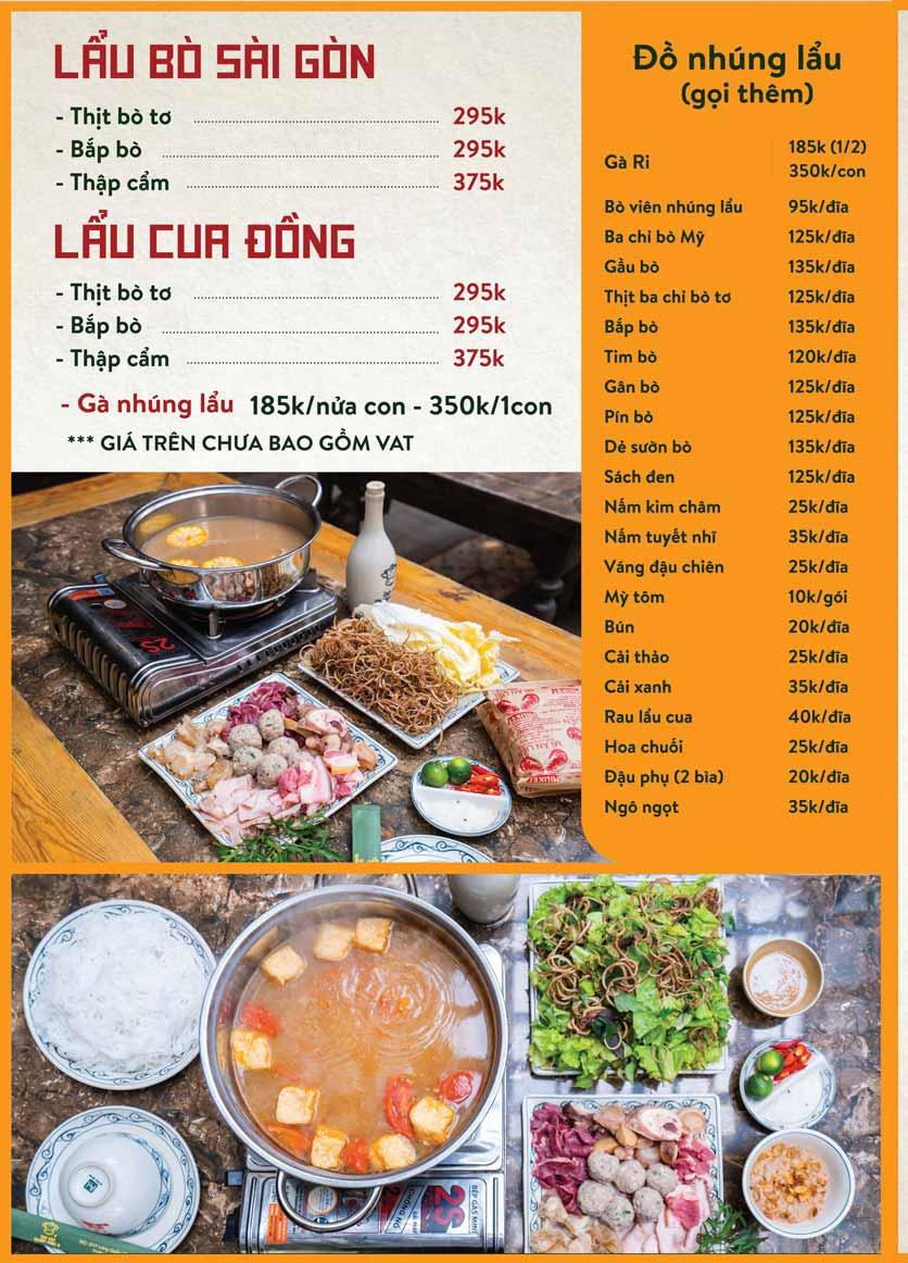 Menu Bò Tơ Quán Mộc - Nguyễn Thị Định 15