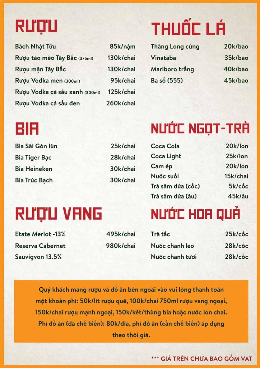 Menu Bò Tơ Quán Mộc - Nguyễn Thị Định 16