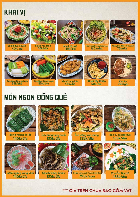 Menu Bò Tơ Quán Mộc - Nguyễn Thị Định 5