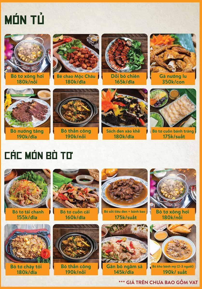 Menu Bò Tơ Quán Mộc - Nguyễn Thị Định 8