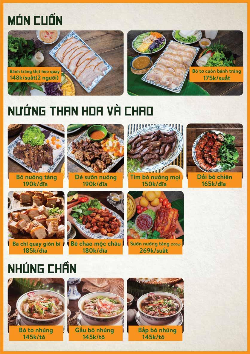 Menu Bò Tơ Quán Mộc - Nguyễn Thị Định 9
