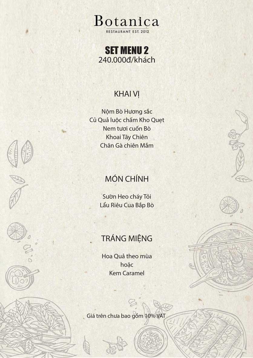 Menu Botanica – Trung Hòa 2
