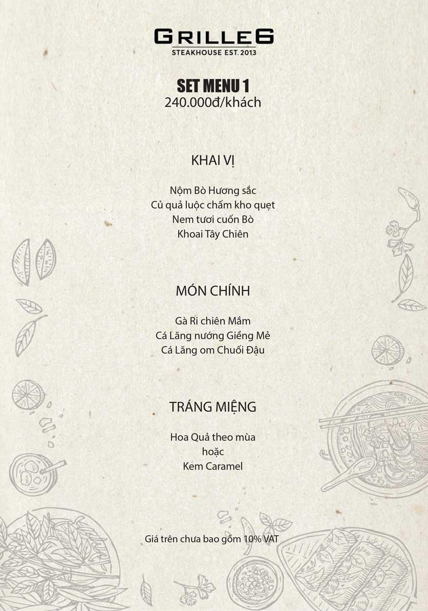 Menu GRILLE6 Steakhouse - Lê Văn Hưu 1