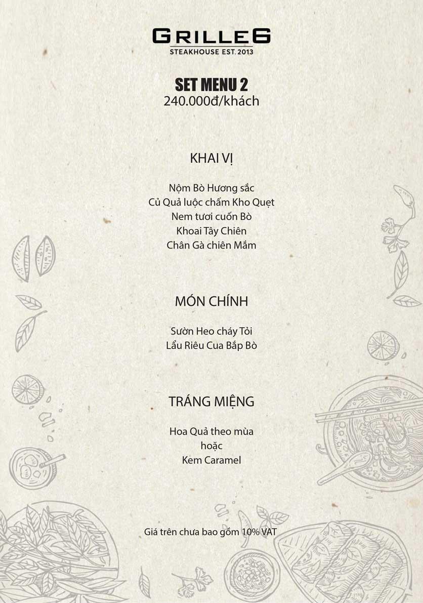 Menu GRILLE6 Steakhouse - Lê Văn Hưu 2