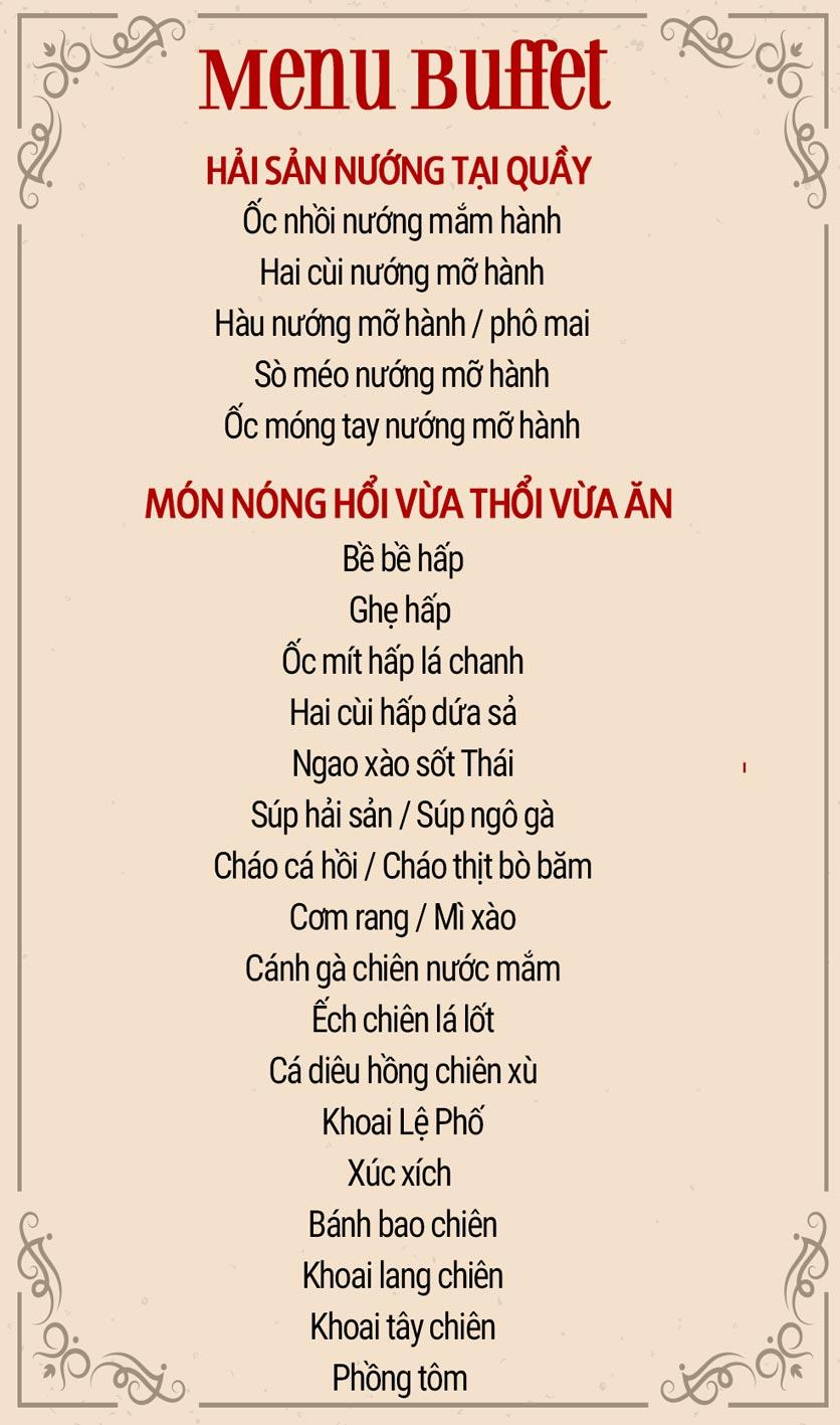 Menu Buffet Sea Star - Nguyễn Hoàng  1