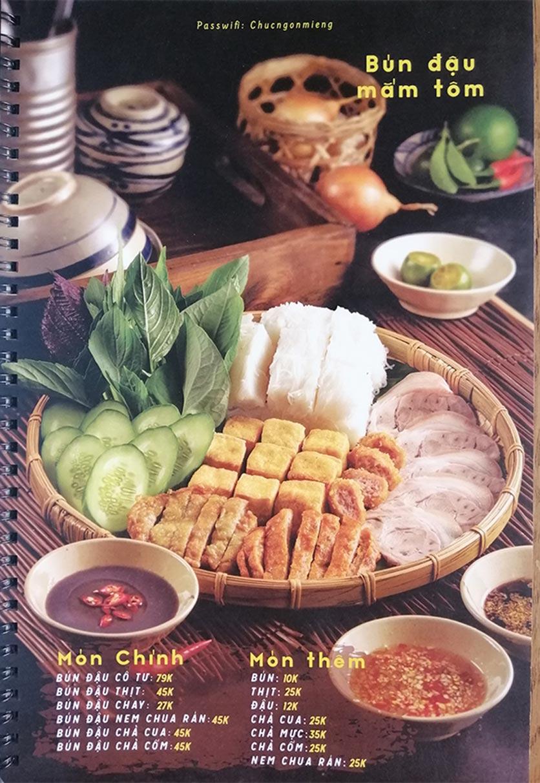 Menu Bún Đậu Cô Tư - Quang Trung 1