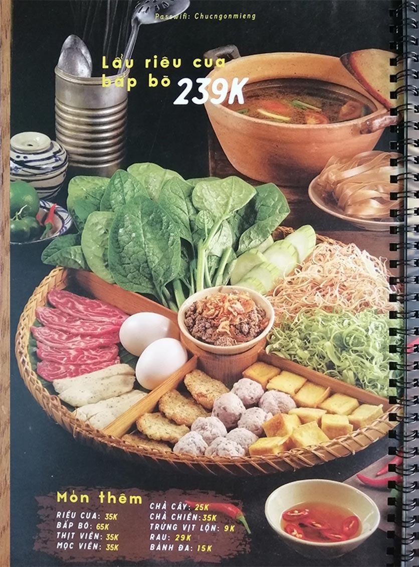 Menu Bún Đậu Cô Tư - Quang Trung 2