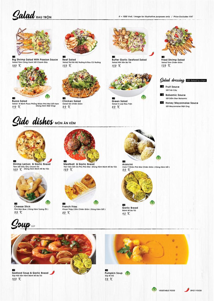 Menu Buzza Pizza – Nguyễn Trung Trực 1