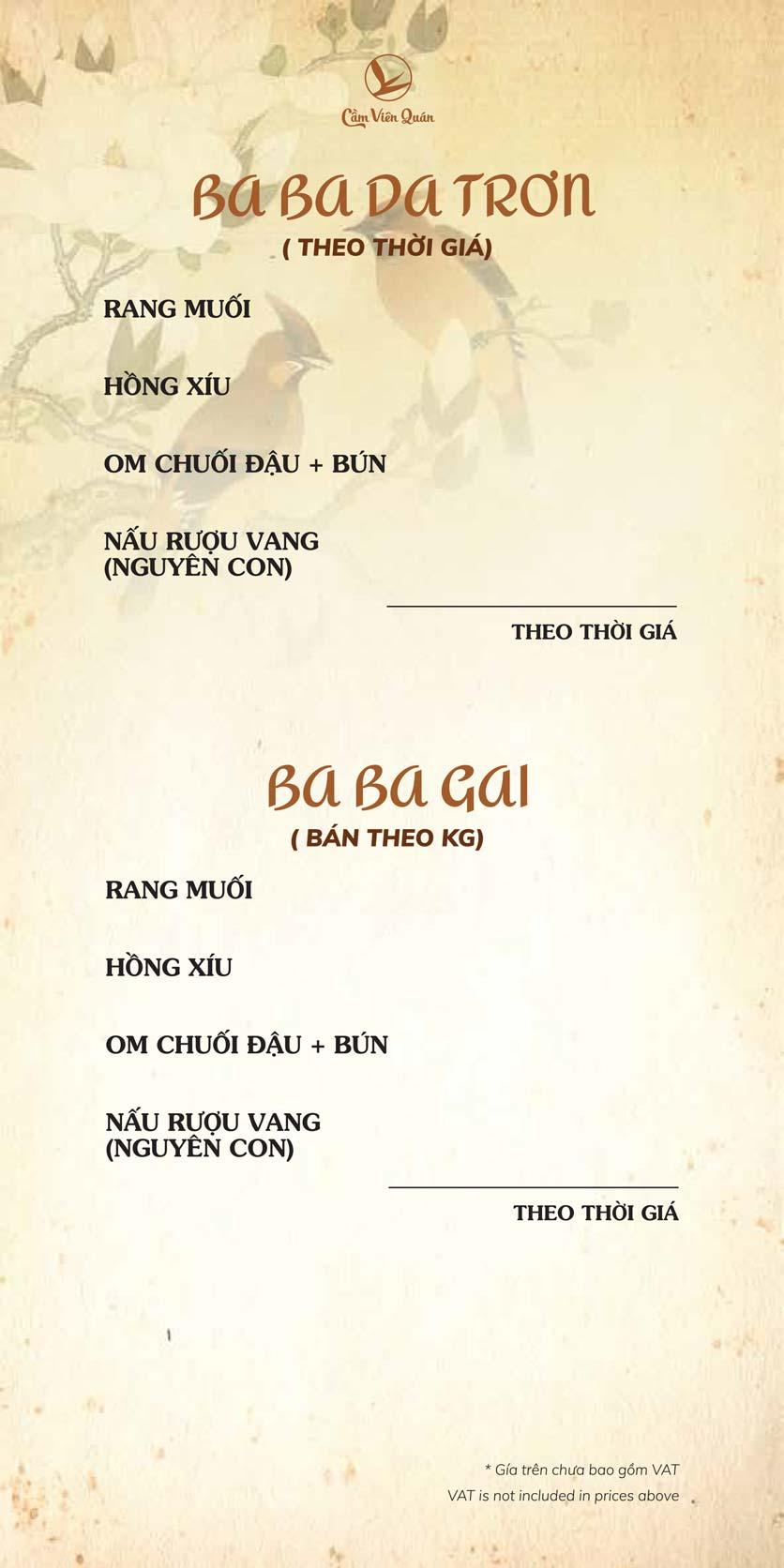 Menu Cầm Viên Quán - Nguyễn Văn Lộc 13