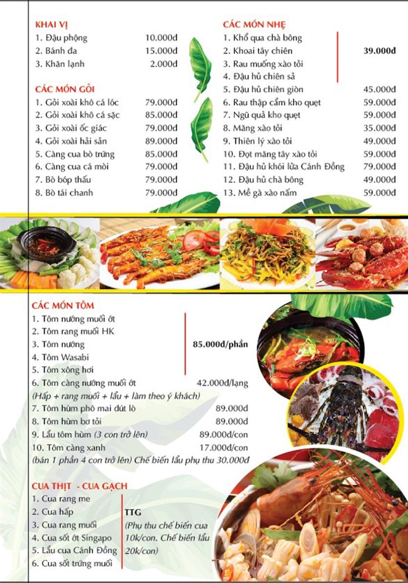 Menu Cánh Đồng Quán - Phạm Văn Đồng 2