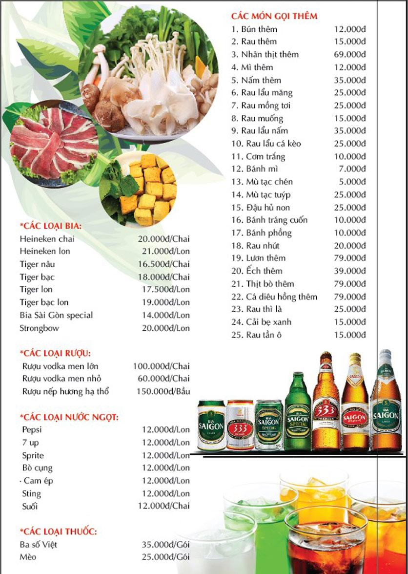 Menu Cánh Đồng Quán - Phạm Văn Đồng 7