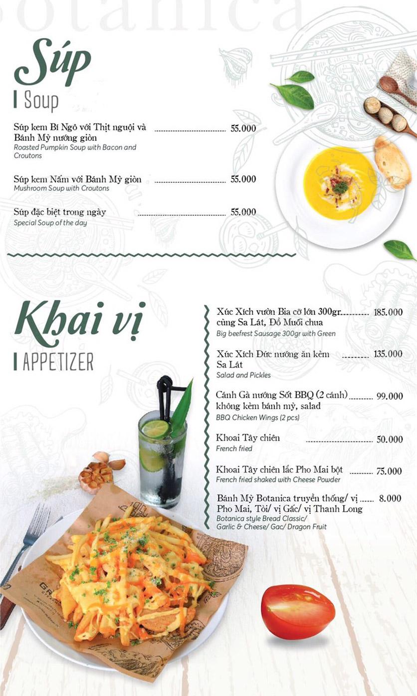 Menu Botanica - Thái Phiên 3