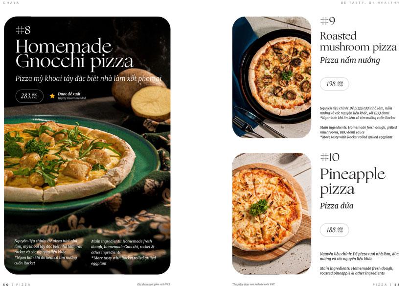 Menu ChayA Pizza - Thi Sách 24