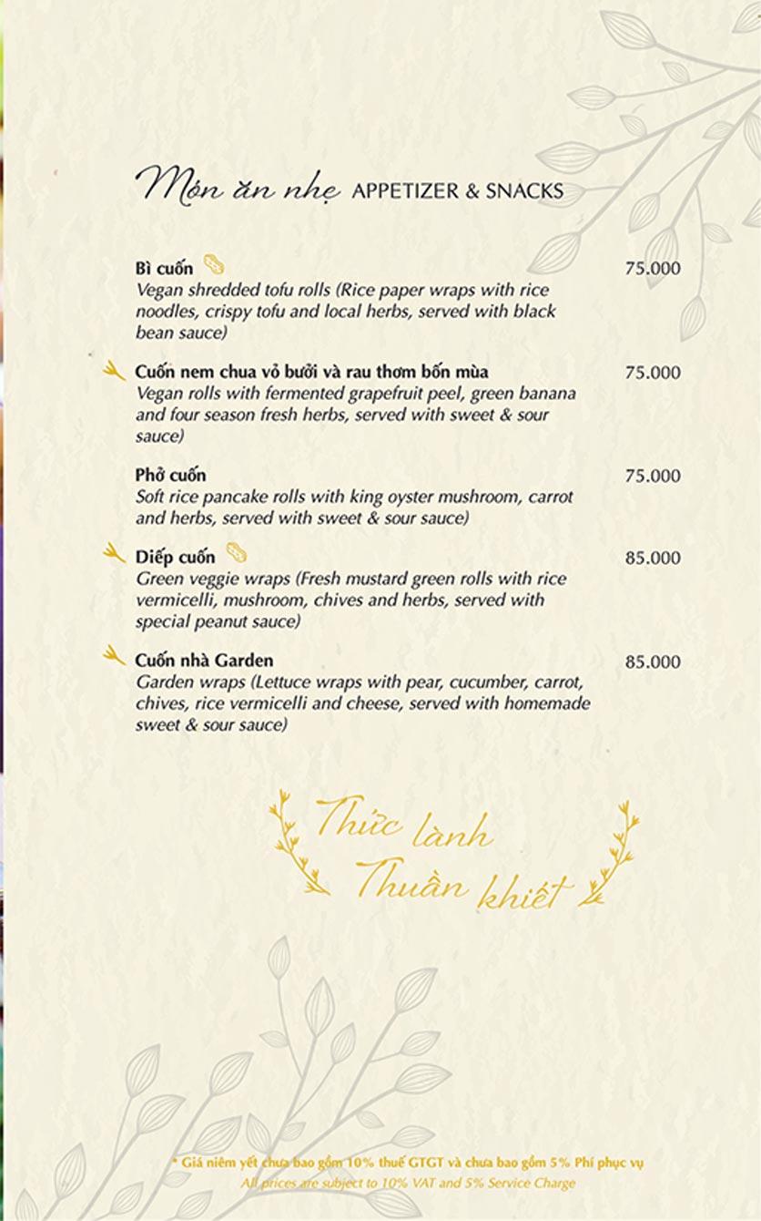 Menu Chay Garden Vegetarian Restaurant & Coffee – Võ Văn Tần 1