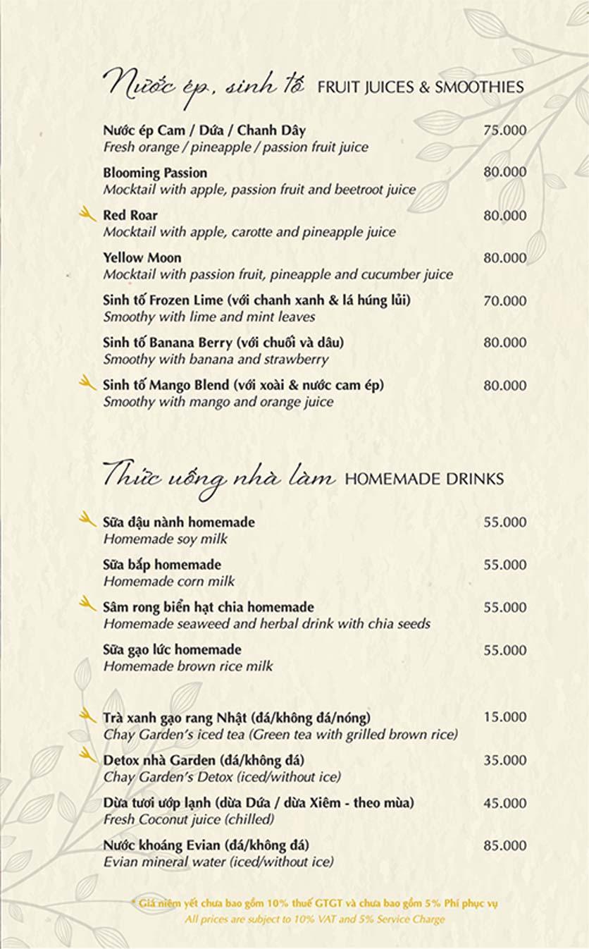 Menu Chay Garden Vegetarian Restaurant & Coffee – Võ Văn Tần 10