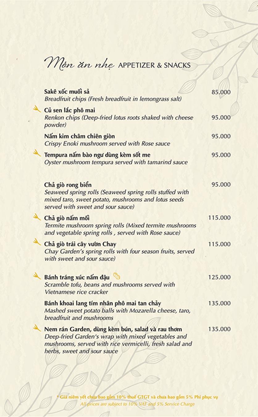Menu Chay Garden Vegetarian Restaurant & Coffee – Võ Văn Tần 2