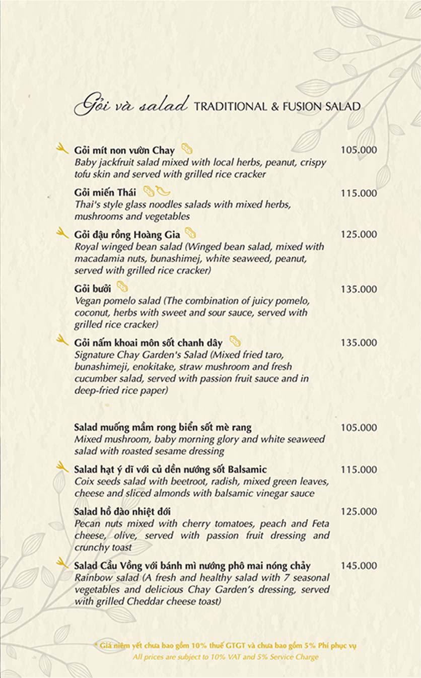 Menu Chay Garden Vegetarian Restaurant & Coffee – Võ Văn Tần 3