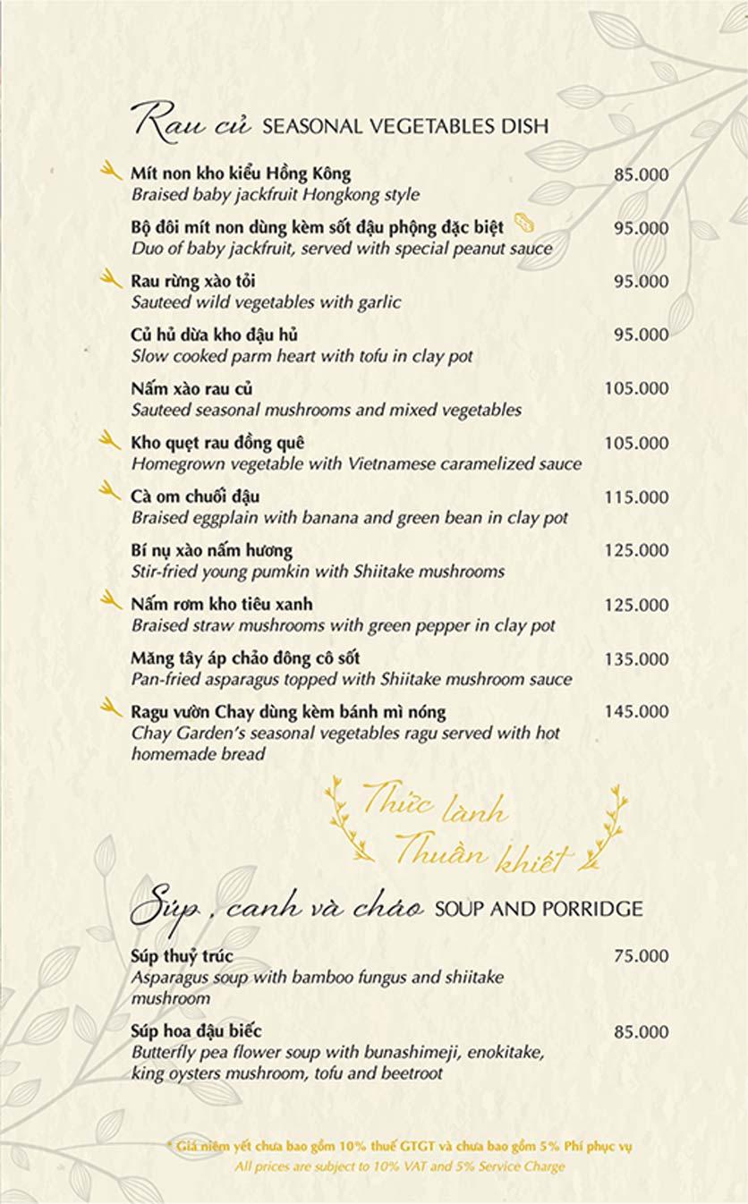 Menu Chay Garden Vegetarian Restaurant & Coffee – Võ Văn Tần 4